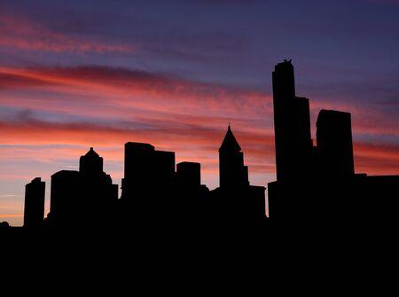 seattle skyline: Seattle skyline at sunset illustration Stock Photo