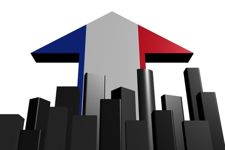 abstract skyline and French flag arrow illustration illustration