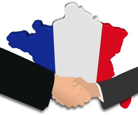 french flag: handshake with France map flag illustration
