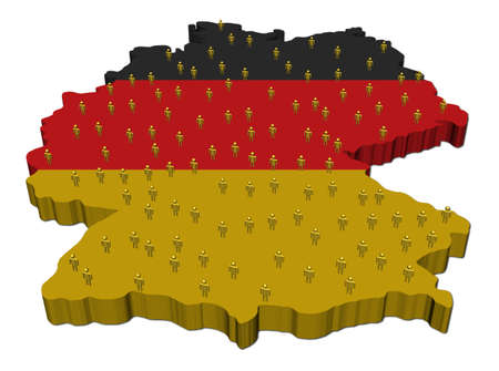 Germany map flag with many people illustration Stock Illustration - 8950743
