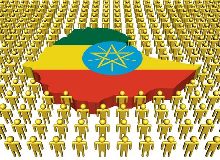 Ethiopia map flag with many people illustration illustration