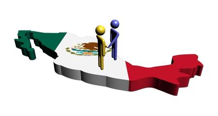 bandera mexicana: gente estrechar la mano de ilustraci�n de bandera de mapa de M�xico Foto de archivo