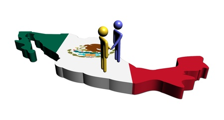 flag of mexico: people shaking hands on Mexico map flag illustration Stock Photo