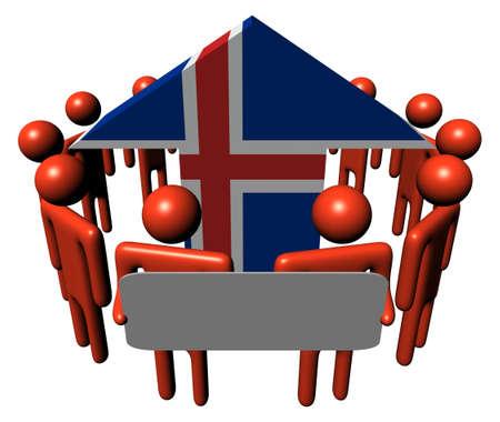 icelandic flag: personas con signo y la ilustraci�n de flecha de bandera de Islandia