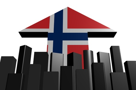 norwegian flag: skyline and Norwegian flag arrow illustration
