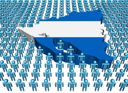 Nicaragua map flag with many people illustration illustration