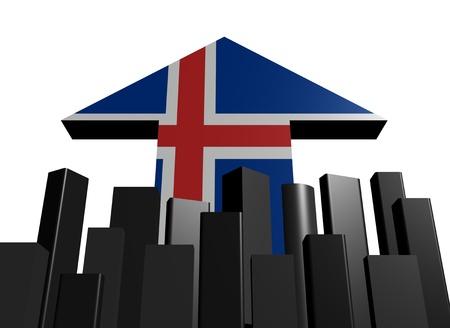 icelandic flag: horizonte abstracto con ilustraci�n de flecha de bandera de Islandia