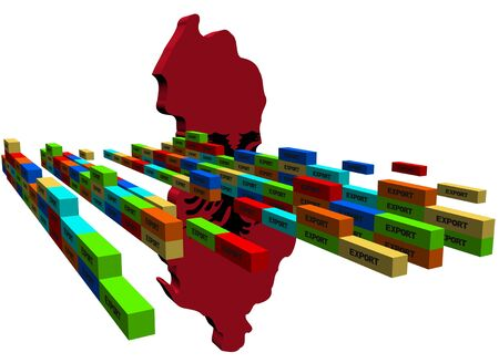 Albania map with stacks of containers illustration illustration