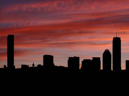 Boston skyline at sunset illustration illustration