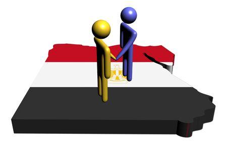 people shaking hands with Egypt map flag illustration illustration