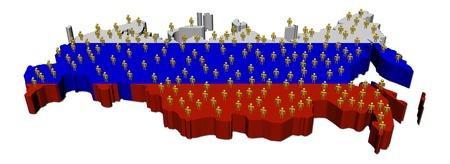russland karte: Russland Karte Flagge mit vielen Menschen illustration