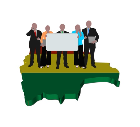 business team with sign on Bolivia map flag illustration illustration