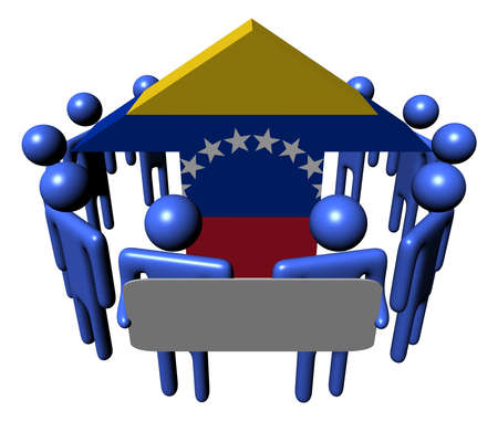 people with sign around Venezuela flag arrow illustration illustration