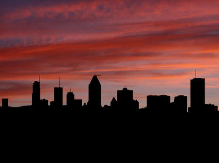 montreal: Montreal skyline at sunset with beautiful sky illustration