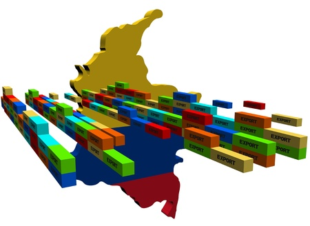 Colombia map with stacks of export containers illustration illustration