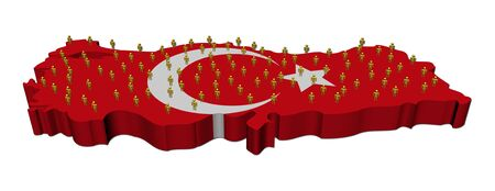 turkish flag: Turkey map flag with many abstract people illustration Stock Photo