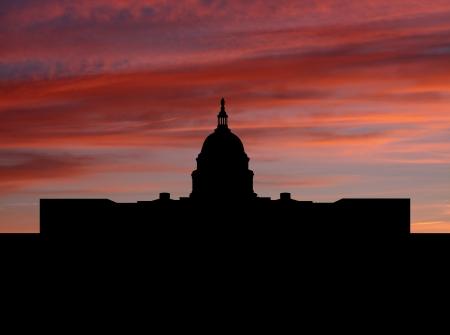 capitol: Capitol Building Washington DC at sunset illustration Stock Photo