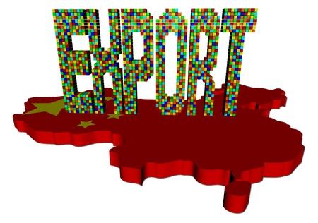 Export text on China map flag illustration illustration