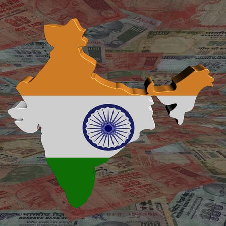 India map flag with Rupees perspective illustration illustration