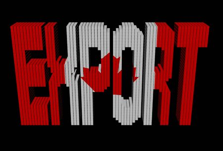 Export text containers with Canadian flag illustration illustration