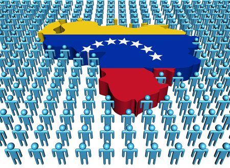 Venezuela map flag surrounded by many abstract people illustration illustration