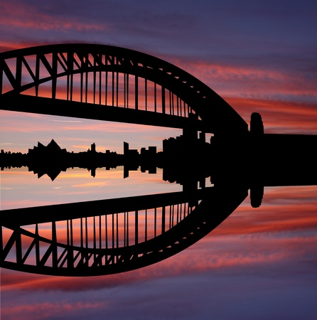 Sydney Harbour Bridge and skyline at sunset illustration illustration