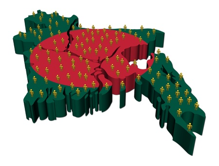 bangladesh: Bangladesh map flag with many people illustration