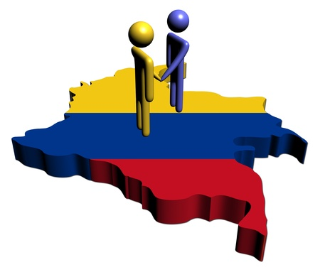 colombian: meeting with Colombia map flag illustration