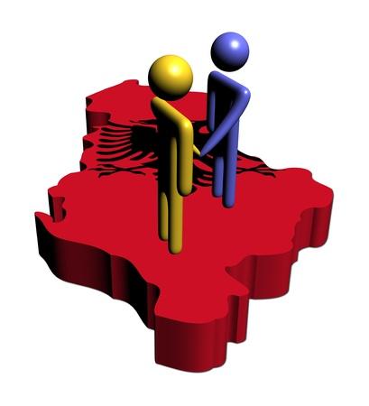 meeting with Albania map flag illustration illustration