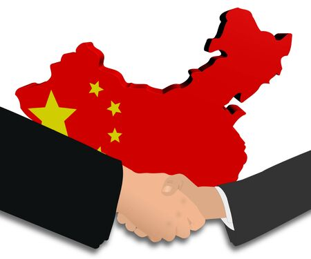 people shaking hands with China map flag illustration illustration