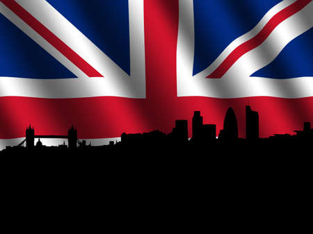 London skyline 2011 with rippled flag illustration illustration