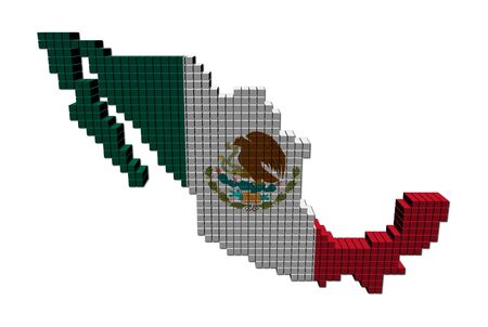 Mexico map flag made of containers illustration illustration