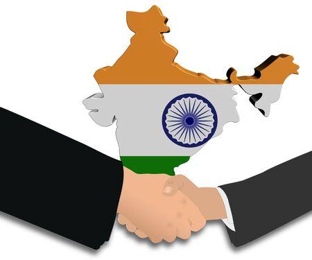handshake with India map flag illustration illustration