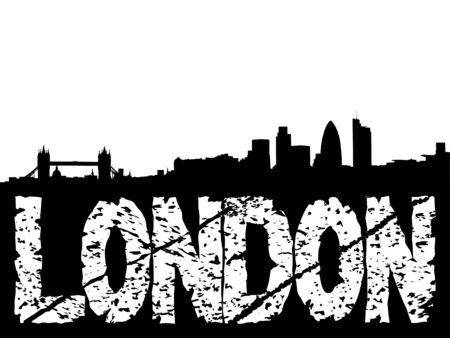 London Skyline and grunge text illustration illustration