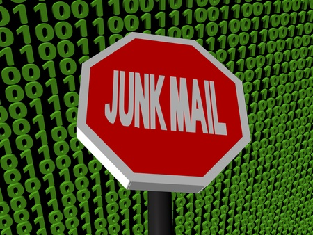 unsubscribe: stop Junk mail sign on binary code illustration