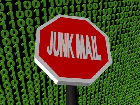stop Junk mail sign on binary code illustration Stock Illustration - 9336561