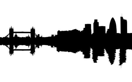 London skyline reflected with ripples illustration Stock Illustration - 9354534