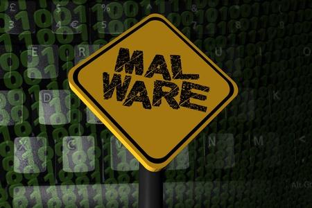 Malware warning sign on binary code illustration Stock Photo