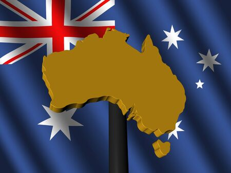 Australia map sign on Australian flag illustration illustration