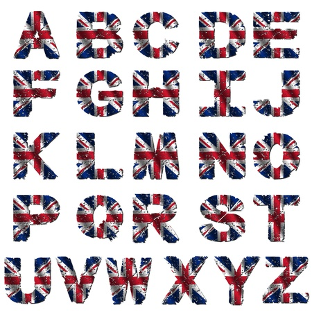 grunge British flag font isolated on white illustration