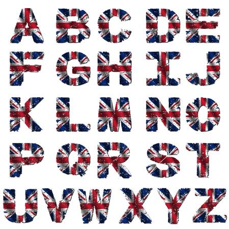 Grunge Britse vlag lettertype geïsoleerd op witte illustratie