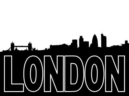 London Skyline and text outline illustration illustration