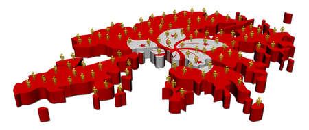 hong kong people: Hong Kong map flag with many people illustration
