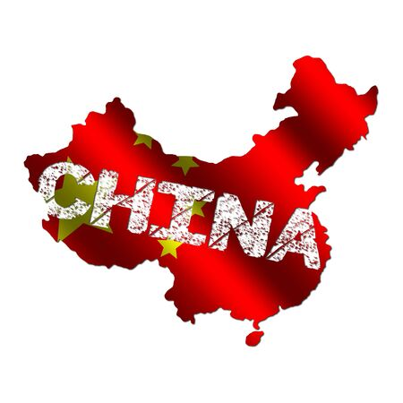 mapa china: Bandera de mapa de China con la ilustraci�n de texto grunge  Foto de archivo