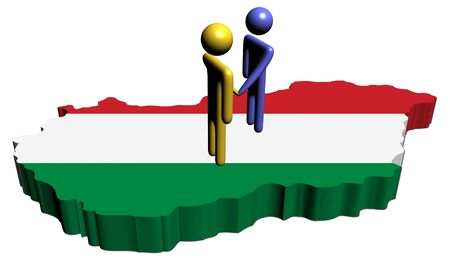 meeting with Hungary map flag illustration illustration