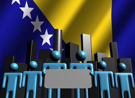 bosnian: Bosnian business team with abstract skyline illustration