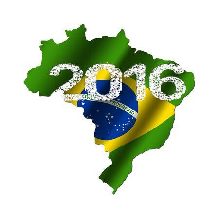 Brazil map flag with grunge 2016 text illustration illustration