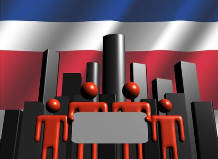 costa rican: Costa Rican business team with skyline illustration