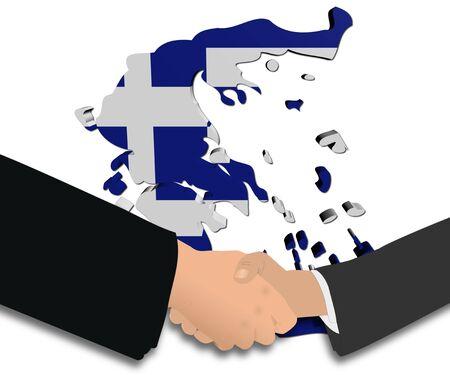people shaking hands with Greece map flag illustration illustration