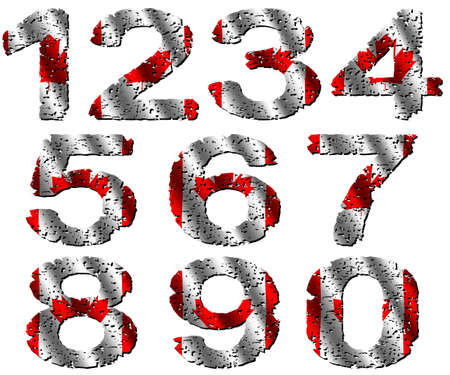 grunge Canadian flag numbers illustration illustration